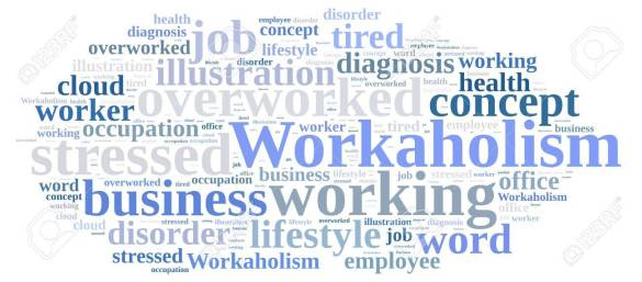 Word cloud on the subject of workaholism.